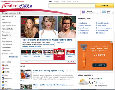 Frontier home page powered by Yahoo!
